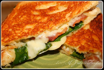 PepperJack, Spinach, and Bacon Grilled Cheese