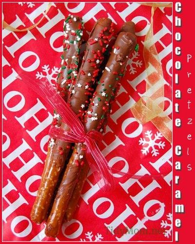 Chocolate and Caramel Dipped Pretzel Rods