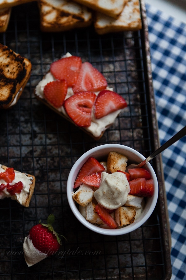 Brown Sugar, Amaretto Whipped Cream with Grilled Angel Food Cake and Strawberries