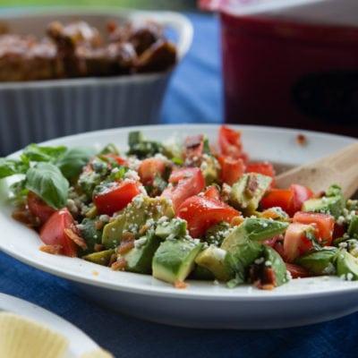 Bacon, Basil, Blue Cheese, Avocado Tomato Summer Salad