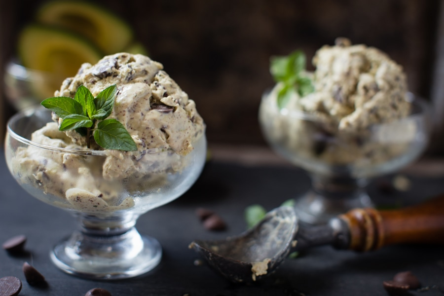 Homemade Mint Chocolate Chip Avocado Ice Cream